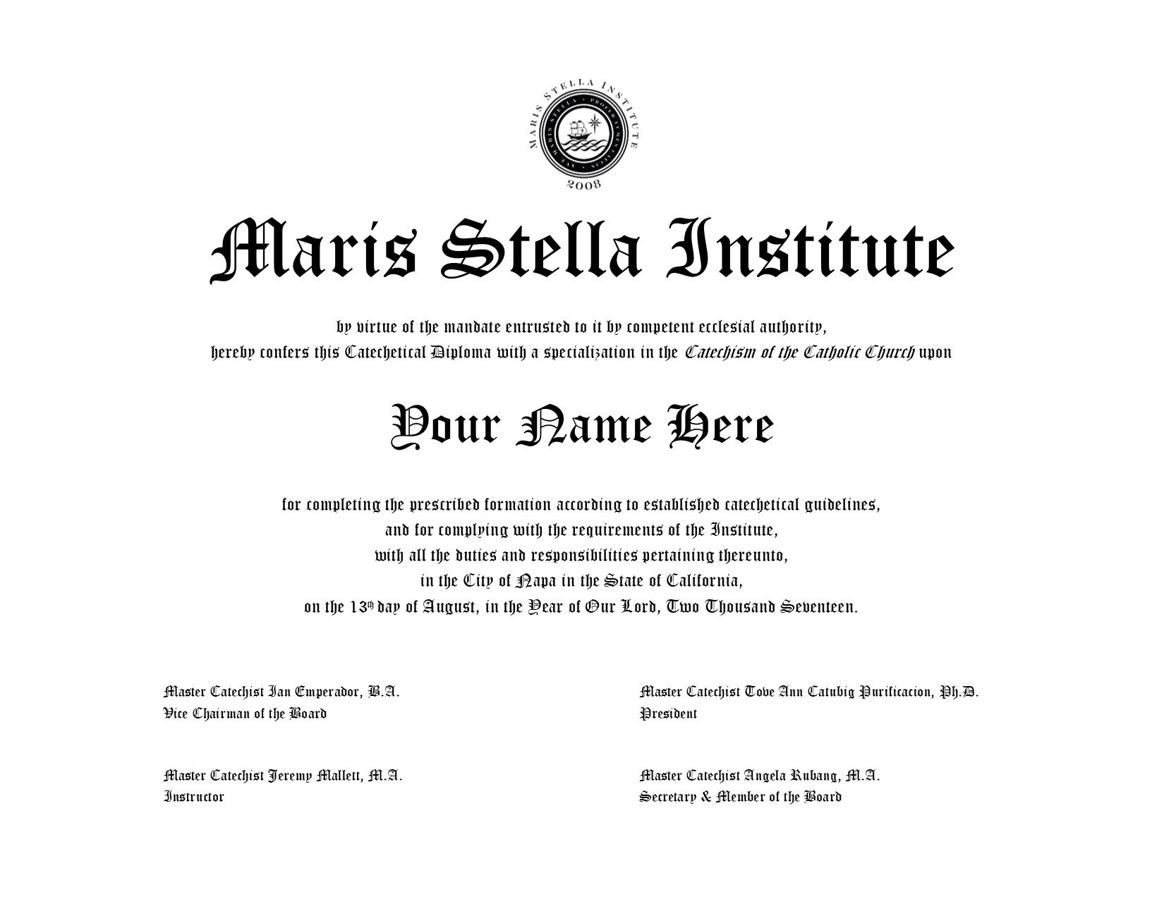 Your Name Here MSI Diploma